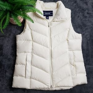 Lands' End White Puffer Down Vest